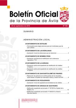 Boletín Oficial de la Provincia del jueves, 29 de septiembre de 2016