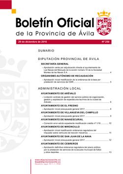 Boletín Oficial de la Provincia del jueves, 29 de diciembre de 2016