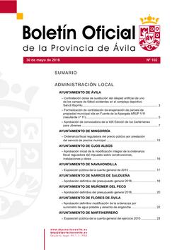 Boletín Oficial de la Provincia del lunes, 30 de mayo de 2016