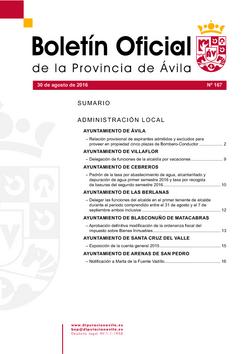 Boletín Oficial de la Provincia del martes, 30 de agosto de 2016