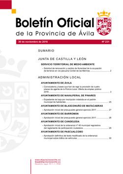 Boletín Oficial de la Provincia del miércoles, 30 de noviembre de 2016