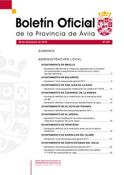 Boletín Oficial de la Provincia del viernes, 30 de diciembre de 2016
