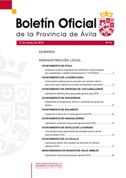 Boletín Oficial de la Provincia del jueves, 31 de marzo de 2016