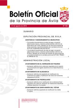 Boletín Oficial de la Provincia del miércoles, 31 de agosto de 2016