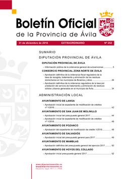 Boletín Oficial de la Provincia del sábado, 31 de diciembre de 2016