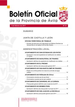 Boletín Oficial de la Provincia del jueves, 2 de febrero de 2017