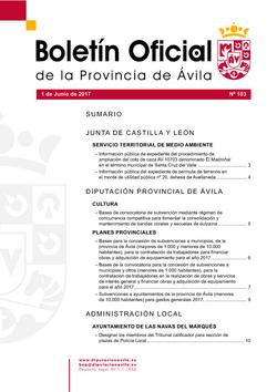 Boletín Oficial de la Provincia del jueves, 1 de junio de 2017