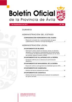 Boletín Oficial de la Provincia del viernes, 1 de septiembre de 2017