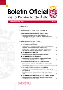 Boletín Oficial de la Provincia del jueves, 2 de noviembre de 2017