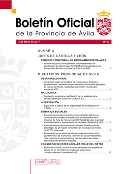 Boletín Oficial de la Provincia del miércoles, 3 de mayo de 2017