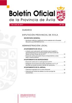Boletín Oficial de la Provincia del lunes, 3 de julio de 2017