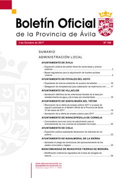 Boletín Oficial de la Provincia del martes, 3 de octubre de 2017