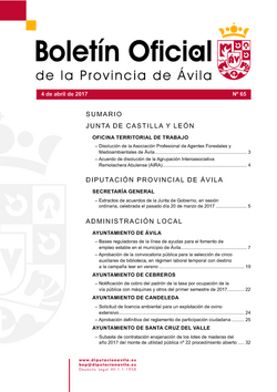 Boletín Oficial de la Provincia del martes, 4 de abril de 2017