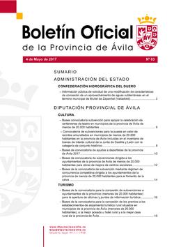 Boletín Oficial de la Provincia del jueves, 4 de mayo de 2017