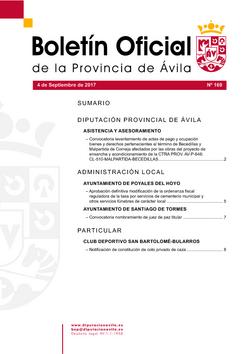 Boletín Oficial de la Provincia del lunes, 4 de septiembre de 2017