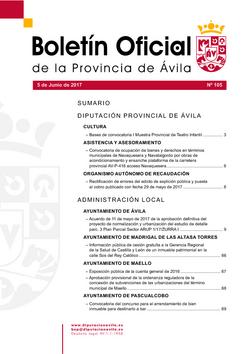 Boletín Oficial de la Provincia del lunes, 5 de junio de 2017