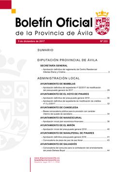 Boletín Oficial de la Provincia del martes, 5 de diciembre de 2017
