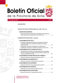 Boletín Oficial de la Provincia del jueves, 6 de abril de 2017