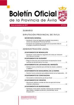 Boletín Oficial de la Provincia del lunes, 6 de noviembre de 2017