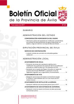 Boletín Oficial de la Provincia del martes, 7 de marzo de 2017