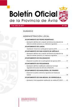 Boletín Oficial de la Provincia del viernes, 7 de julio de 2017