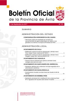 Boletín Oficial de la Provincia del viernes, 8 de septiembre de 2017