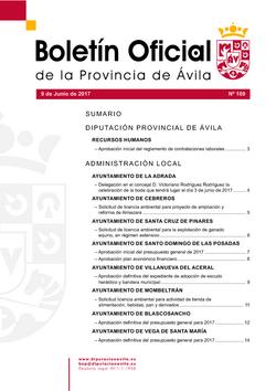 Boletín Oficial de la Provincia del viernes, 9 de junio de 2017