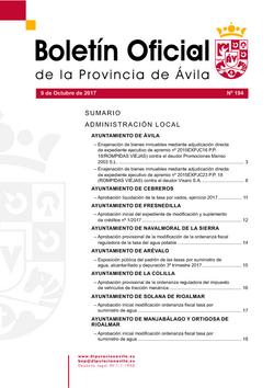 Boletín Oficial de la Provincia del lunes, 9 de octubre de 2017