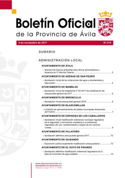 Boletín Oficial de la Provincia del jueves, 9 de noviembre de 2017