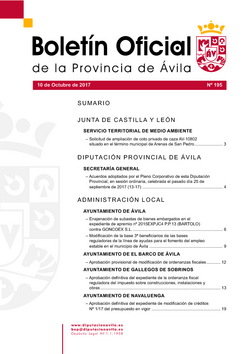 Boletín Oficial de la Provincia del martes, 10 de octubre de 2017