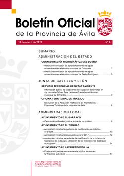 Boletín Oficial de la Provincia del miércoles, 11 de enero de 2017
