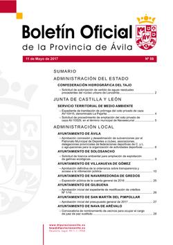 Boletín Oficial de la Provincia del jueves, 11 de mayo de 2017