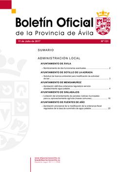 Boletín Oficial de la Provincia del martes, 11 de julio de 2017