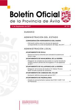 Boletín Oficial de la Provincia del lunes, 11 de septiembre de 2017