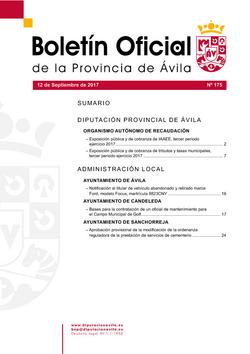 Boletín Oficial de la Provincia del martes, 12 de septiembre de 2017
