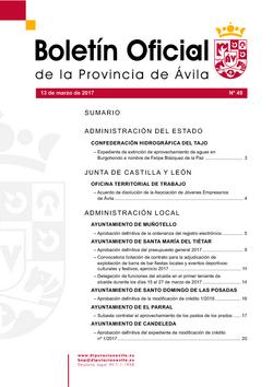 Boletín Oficial de la Provincia del lunes, 13 de marzo de 2017