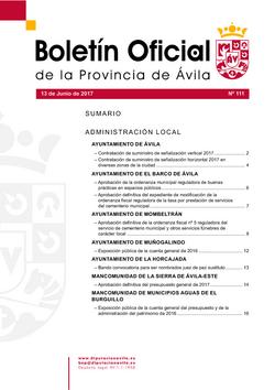 Boletín Oficial de la Provincia del martes, 13 de junio de 2017
