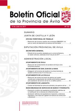 Boletín Oficial de la Provincia del jueves, 13 de julio de 2017