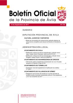 Boletín Oficial de la Provincia del miércoles, 13 de septiembre de 2017