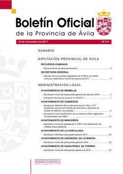 Boletín Oficial de la Provincia del lunes, 13 de noviembre de 2017