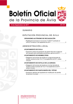 Boletín Oficial de la Provincia del jueves, 14 de septiembre de 2017