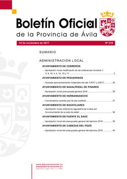 Boletín Oficial de la Provincia del martes, 14 de noviembre de 2017