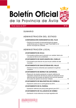 Boletín Oficial de la Provincia del miércoles, 15 de marzo de 2017