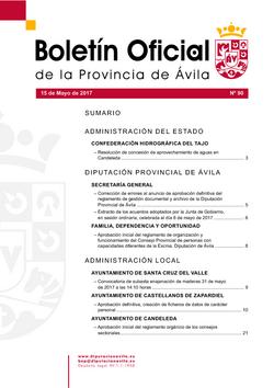Boletín Oficial de la Provincia del lunes, 15 de mayo de 2017