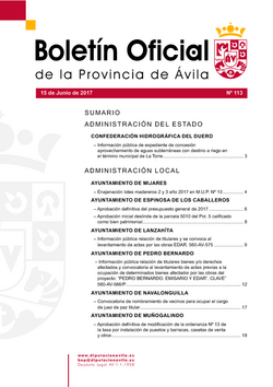 Boletín Oficial de la Provincia del jueves, 15 de junio de 2017