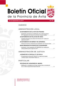 Boletín Oficial de la Provincia del viernes, 15 de septiembre de 2017