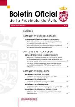Boletín Oficial de la Provincia del lunes, 16 de enero de 2017