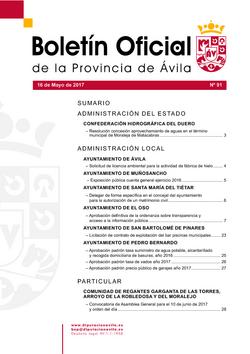 Boletín Oficial de la Provincia del martes, 16 de mayo de 2017