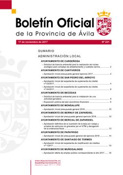 Boletín Oficial de la Provincia del viernes, 17 de noviembre de 2017