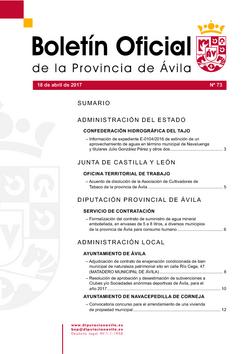Boletín Oficial de la Provincia del martes, 18 de abril de 2017